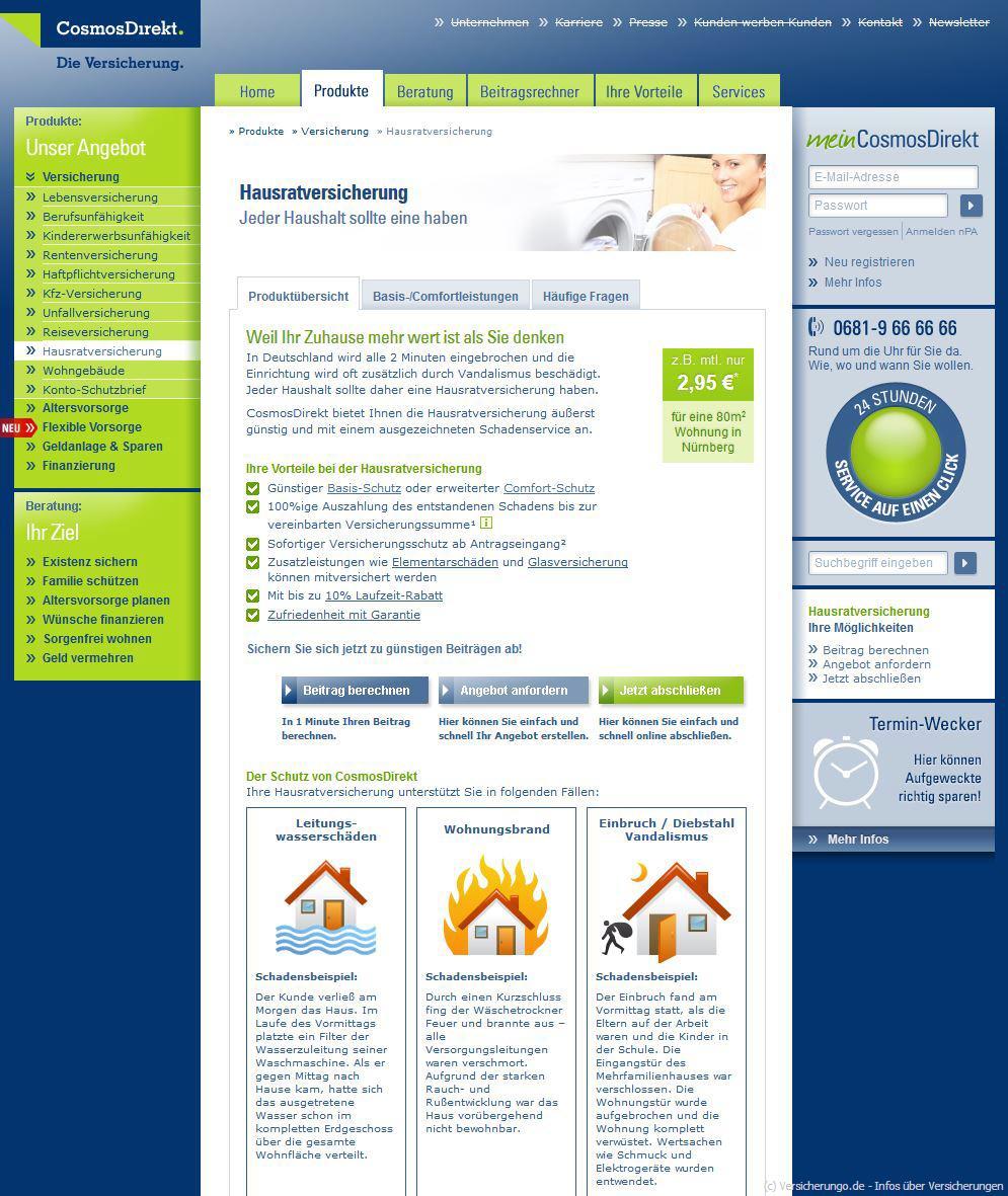 Cosmos Direkt Hausratversicherung